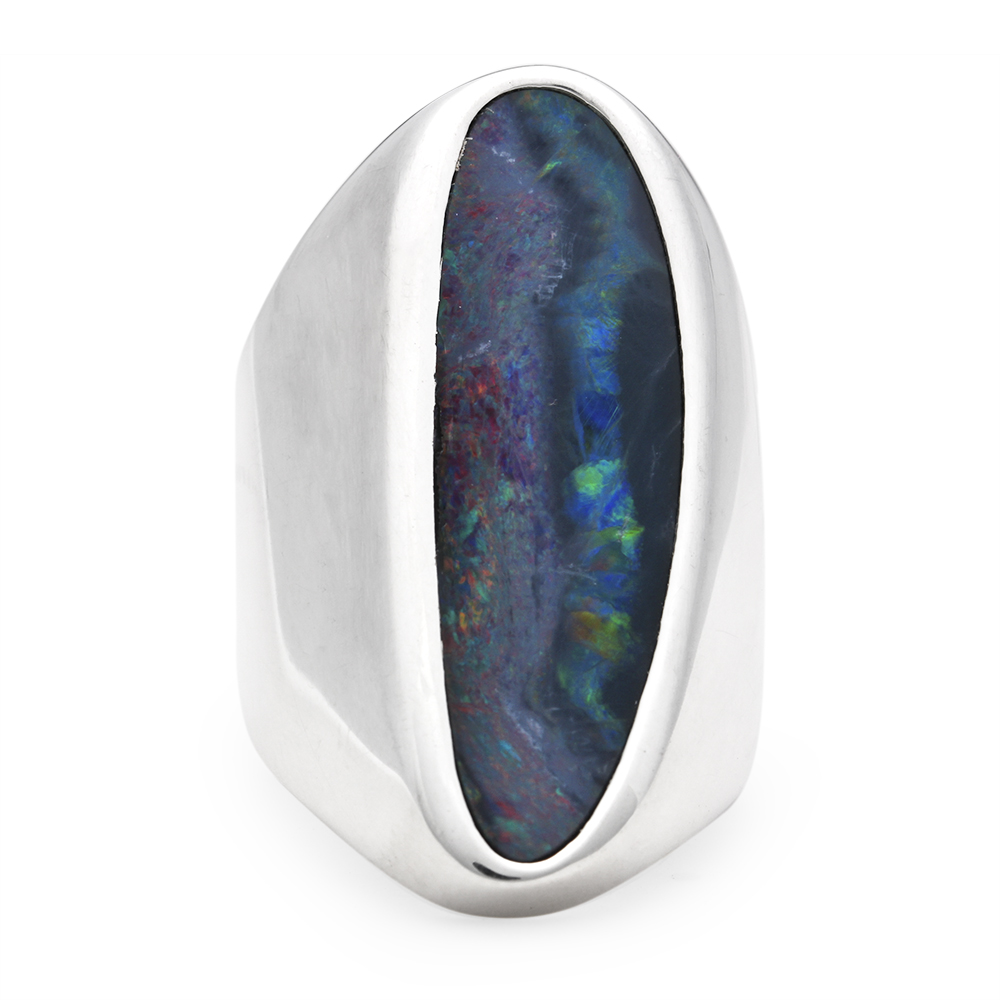 opal handmade silver ring