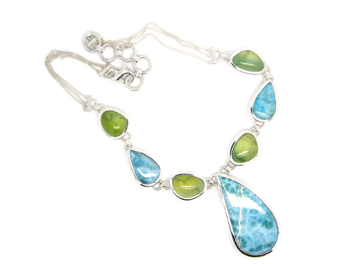 sterling silver necklace with larimar and prehnite stones