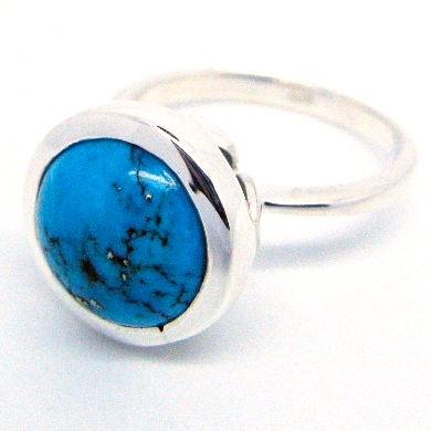 arizona turquoise in silver handmade ring