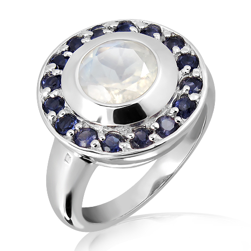 handmade silver ring with iolites and moonstone