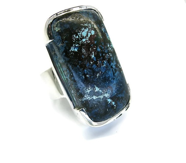 handmade sterling silver ring with chrysocolla