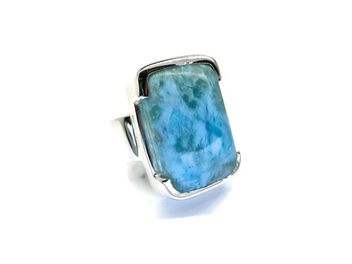 handmade sterling silver ring with larimar