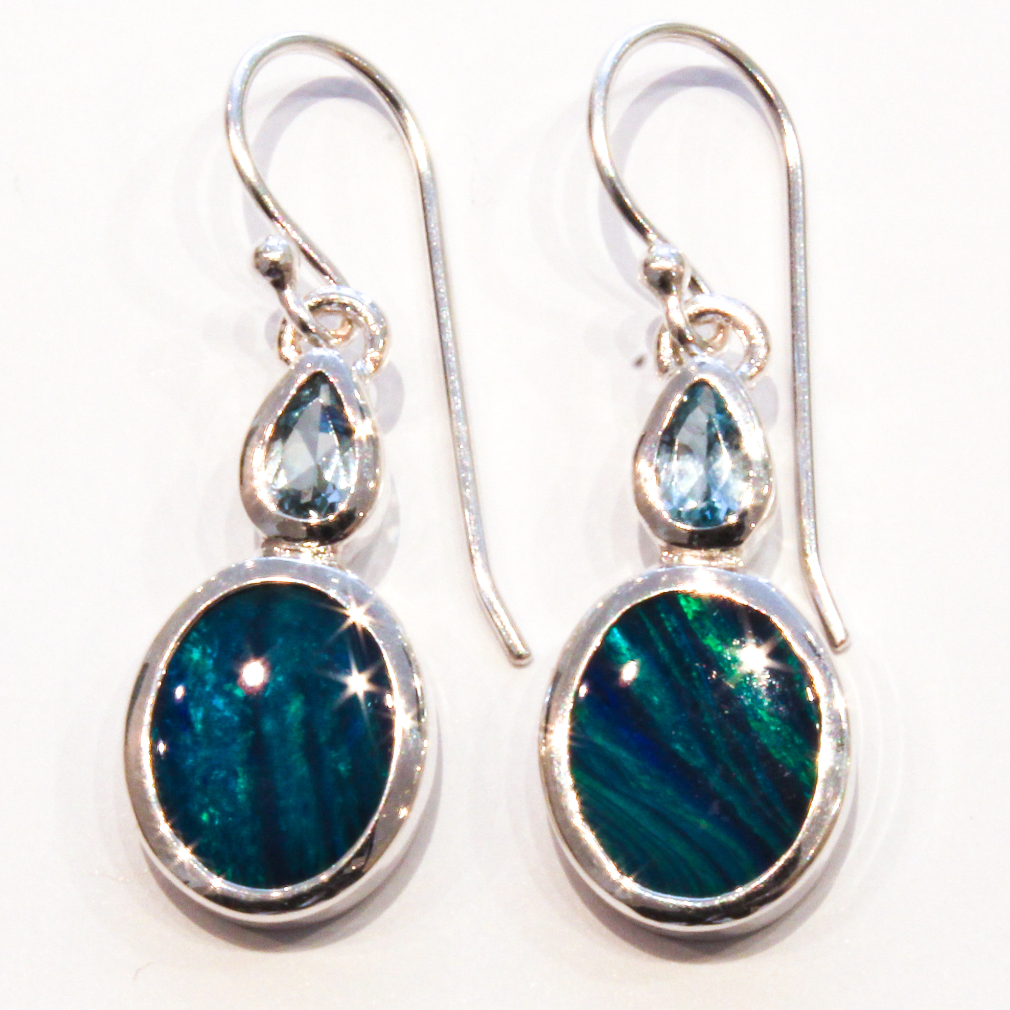 handmade opal and blue topaz unique earrings