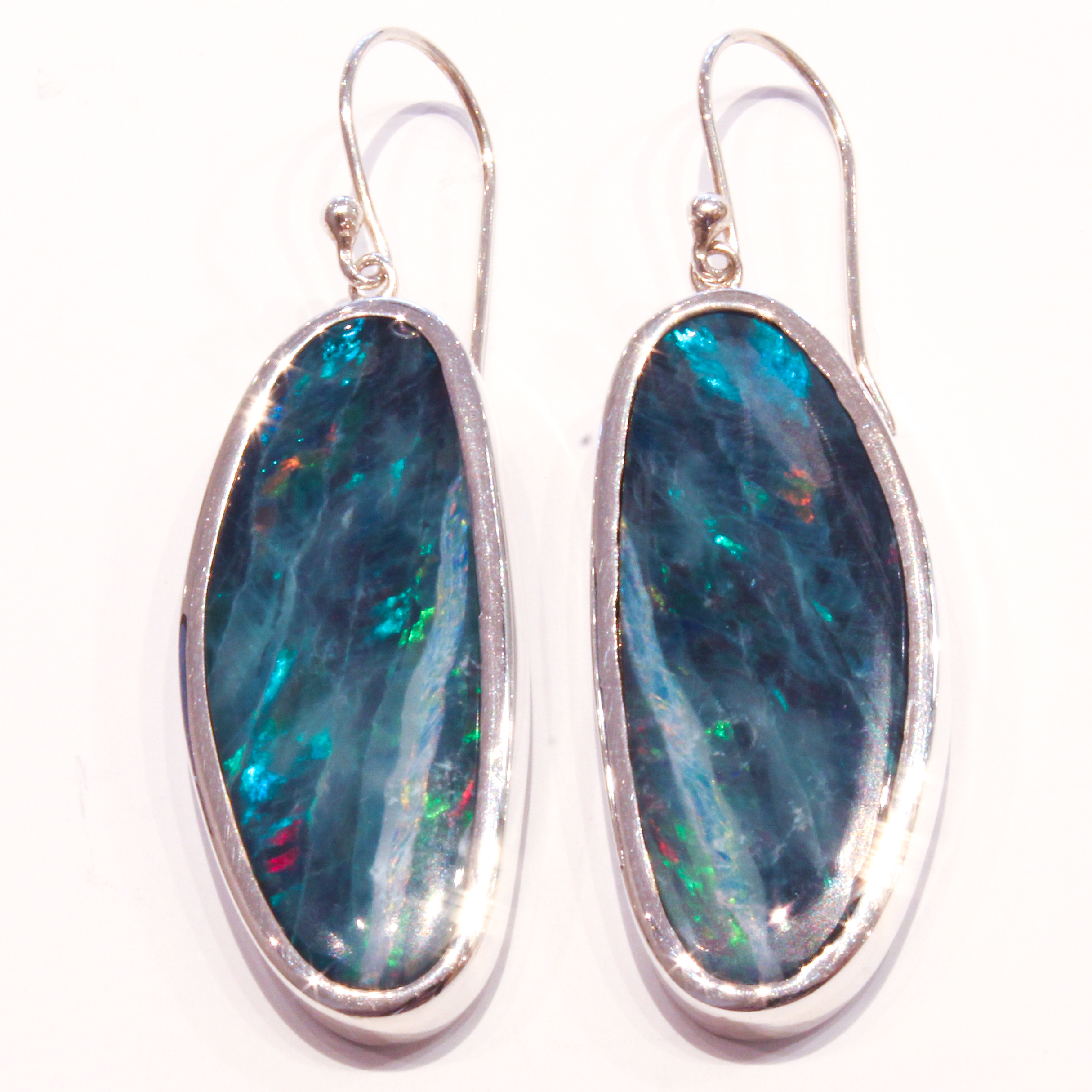 bespoken australian opal silver earrings