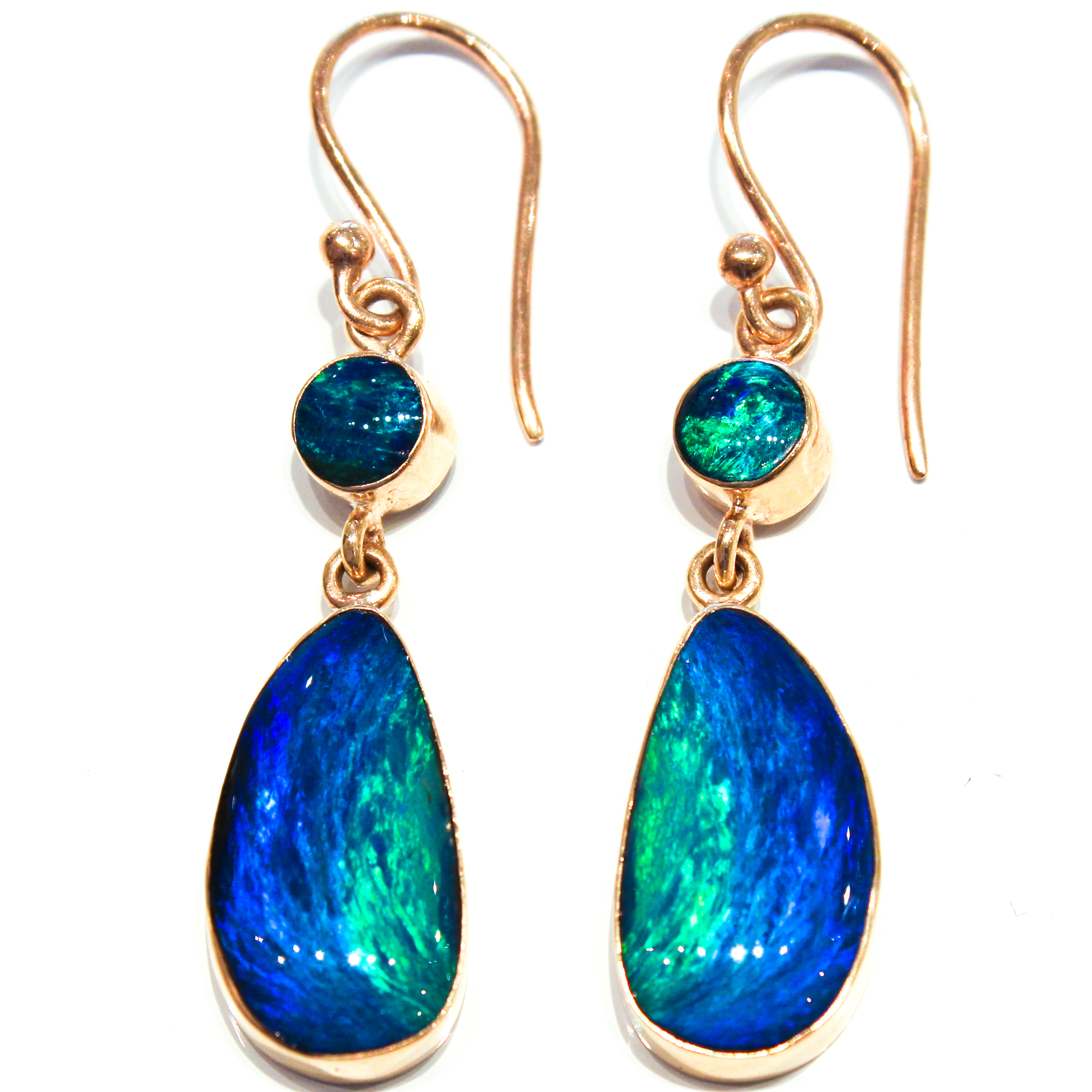 australian opal handmade gold earrings part of exclusive