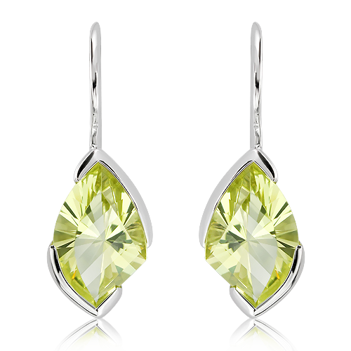 Lemon Quartz laser faceted Earrings