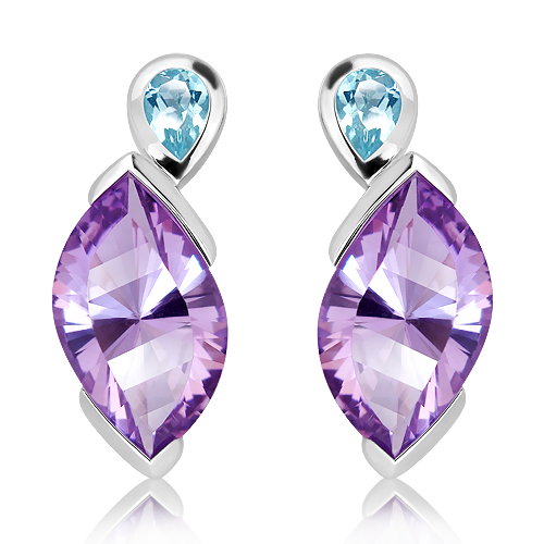 Amethyst and Blue Topaz Silver Studs