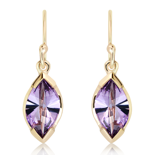 Special Faceted Amethyst Gold Earrings