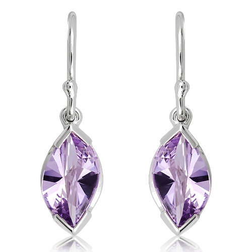 Amethyst Laser faceted Silver Earrings