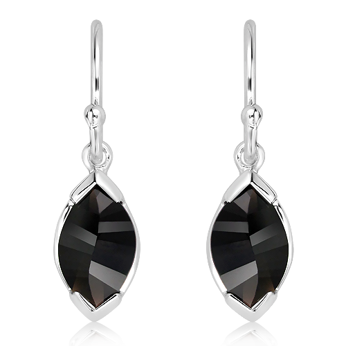 Laser Faceted Black Quartz Silver Earrings