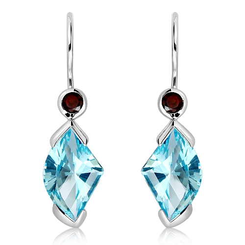 Blue Topaz Laser faceted Earrings