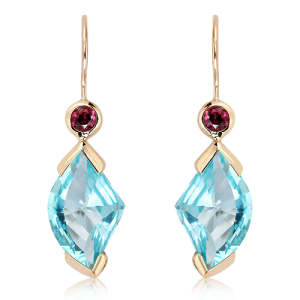 Laser Cut Blue Topaz and Garnet Gold earrings