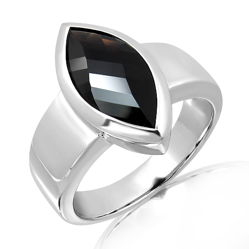 Laser Faceted Black Quartz Silver Ring