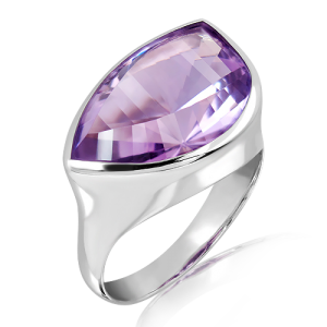 Amethyst Laser Faceted Silver Ring