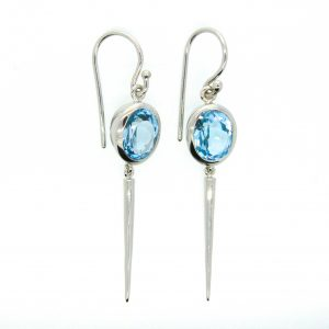 Blue Topaz Earrings Handmade In Sterling Silver