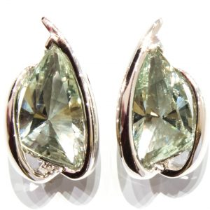 Laser Faceted Green Amethyst Studs