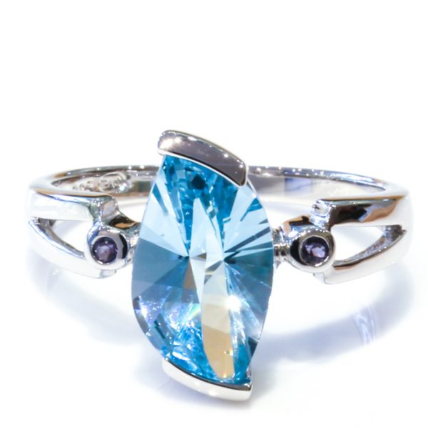 Bright Blue Topaz Sterling Silver Ring
