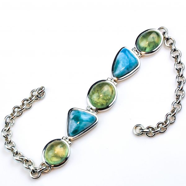 Handmade Sterling Silver Bracelet with Larimar and Prehnite Stones