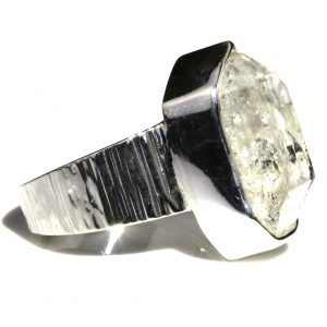 Unique Herkimer Diamond in Handmade Silver Ring