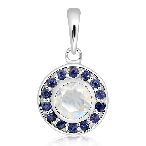 Moonstone and Iolites Sterling Silver Pendant