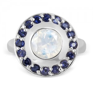 Moonstone and Iolites Sterling Silver Ring