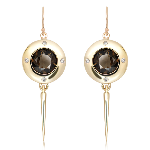 Handmade Gold Earrings with Smoky Quartz and Diamonds