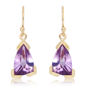 9 Ct Gold Earrings with Laser Cut Amethyst