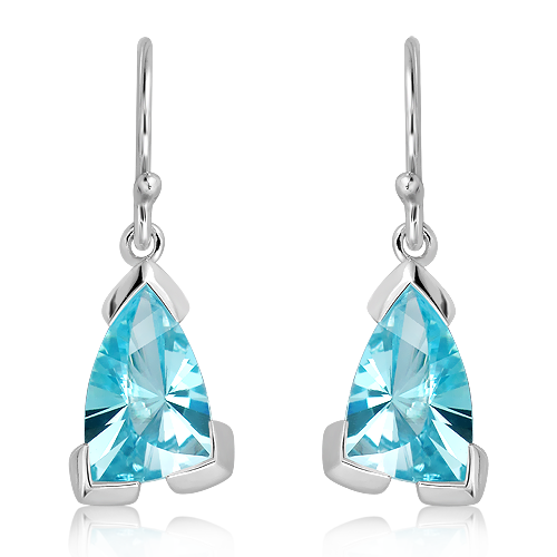 Handmade Laser Cut Blue Topaz Sterling Silver Earrings