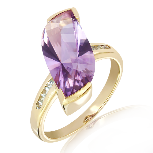 Amethyst Ring in Gold with special faceting