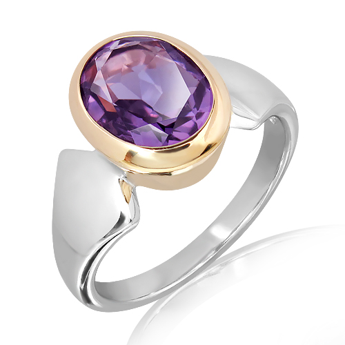 9 Ct Gold & Sterling Silver Ring with Amethyst