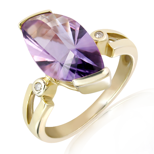 9 Ct Yellow Gold Ring with Laser Cut Amethyst and Diamonds