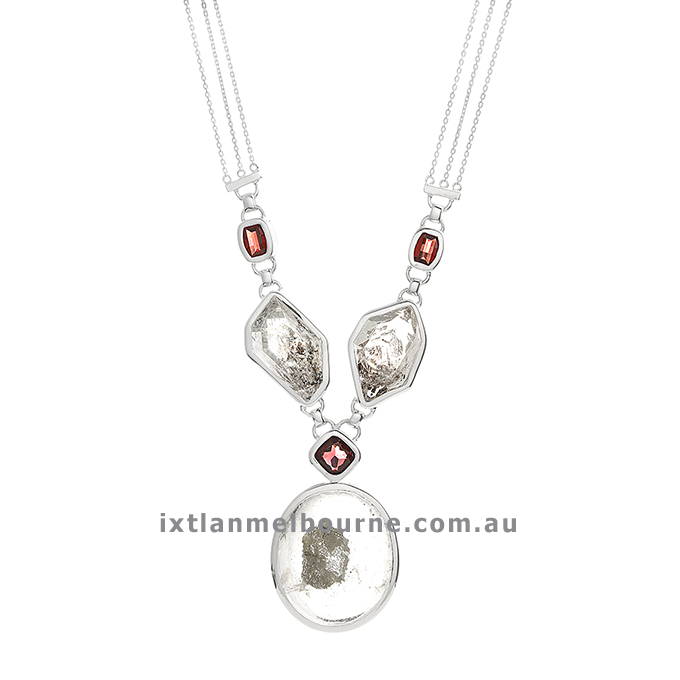 Sterling Silver Handmade Necklace with Herkimer Diamonds, Quartz and Garnets