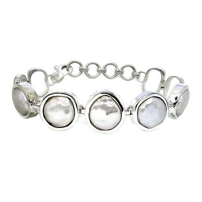 Handmade Sterling Silver Bracelet with Culture Pearls