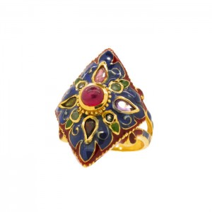 Enamel Italian Ring with Low Grade Ruby and Natural Stones