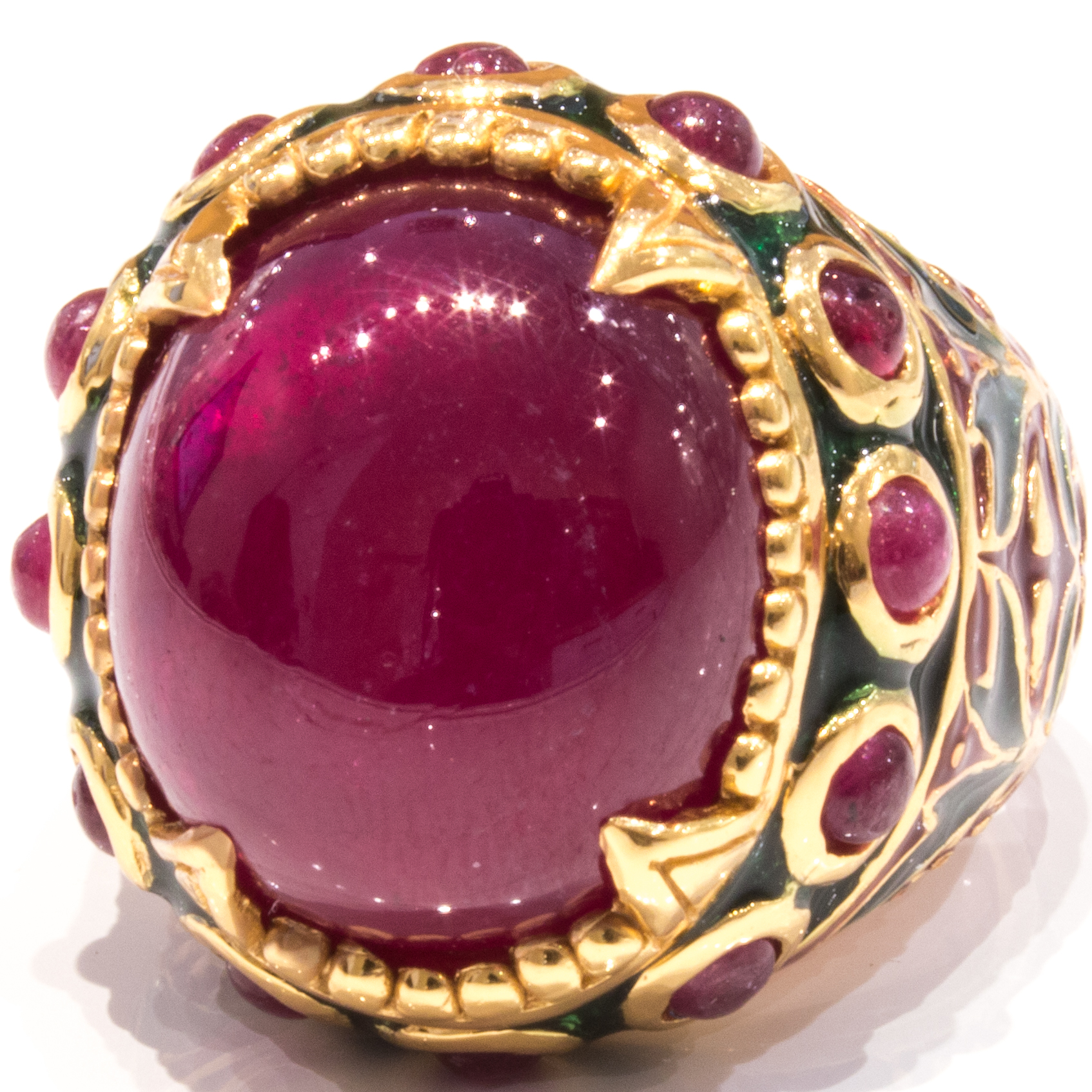 Italian Enamel Ring With Ruby