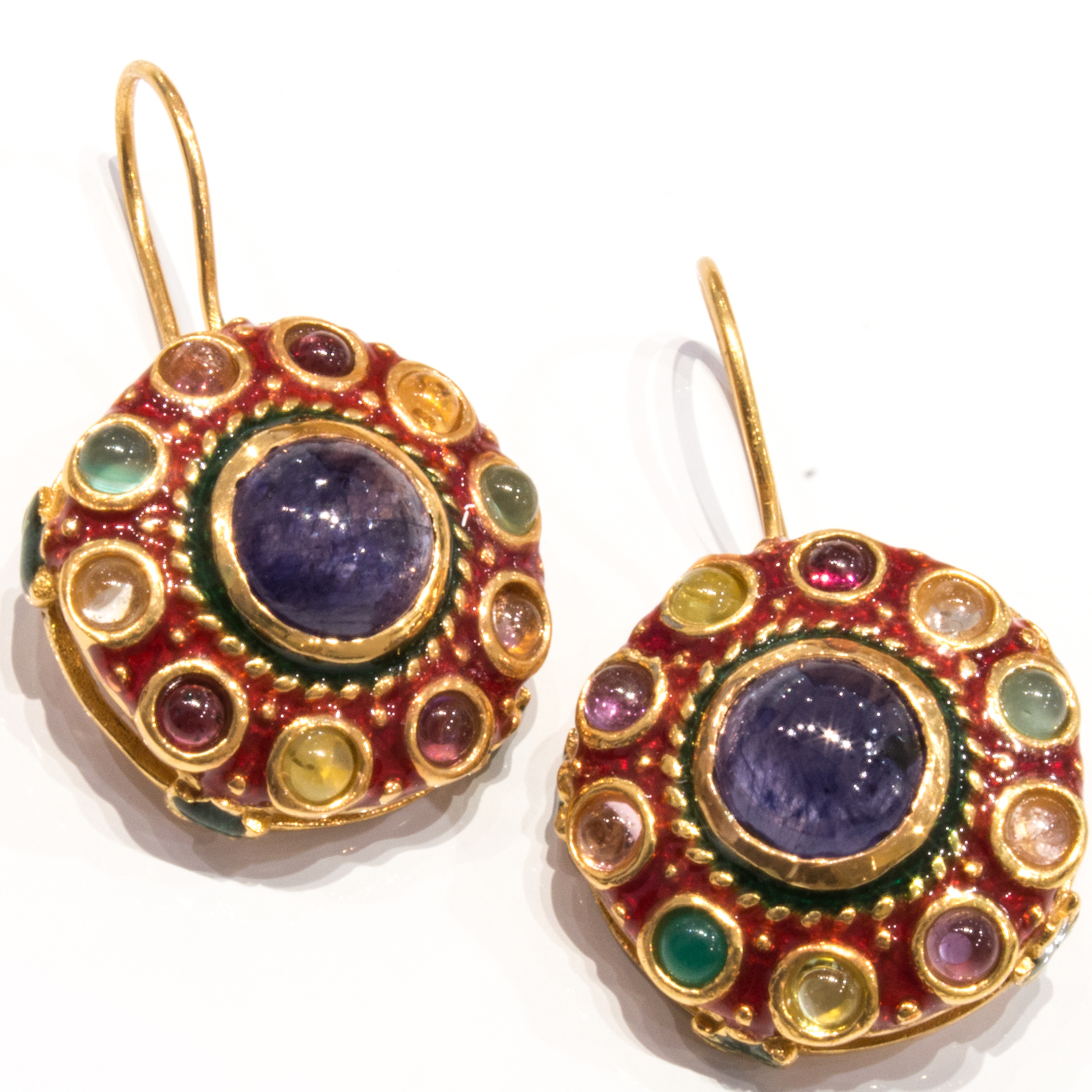 Enamel Italian Earrings with Blue Sapphire and Natural Stones