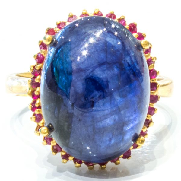 Sapphire and Rubies in Enamel and Gold Ring