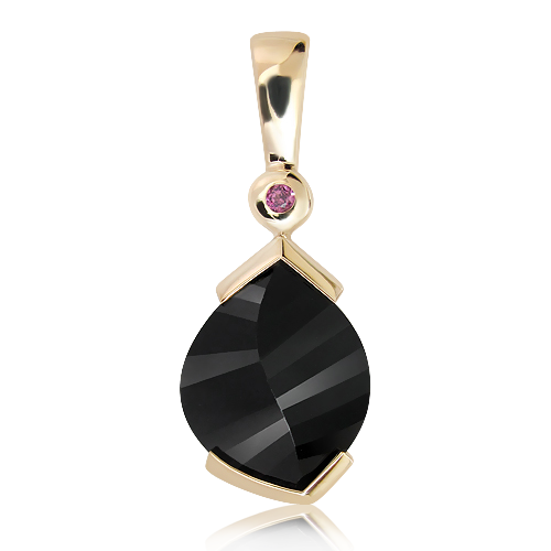 9 Ct. Yellow Gold Pendant with Laser Cut Black Quartz