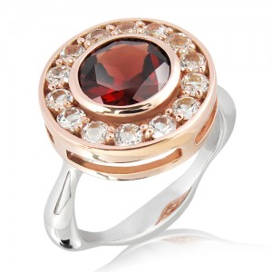 Garnet and White Sapphires in Rose Gold and Silver Ring