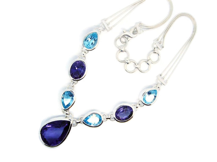 Handmade Sterling Silver Necklace with Amethyst and Blue Topaz