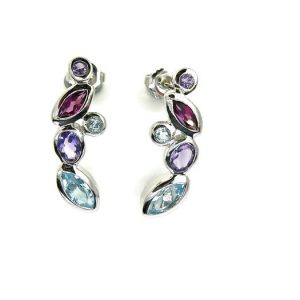 Blue Topaz, Amethyst & Garnets Sterling Silver Earrings