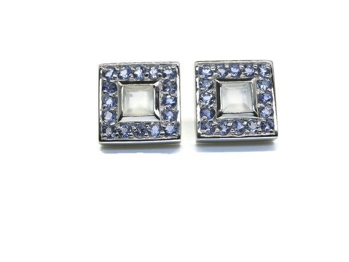 Silver Studs Earrings with Moonstones and Iolites