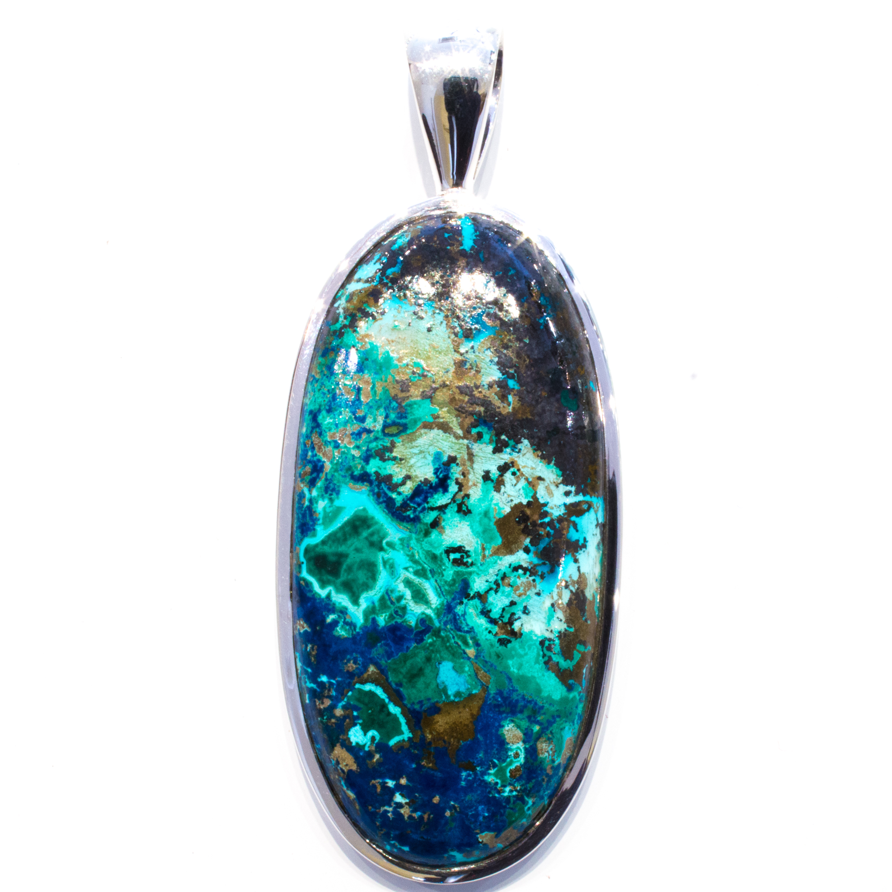 Handmade Sterling Silver Pendant with Chrysocolla Stone