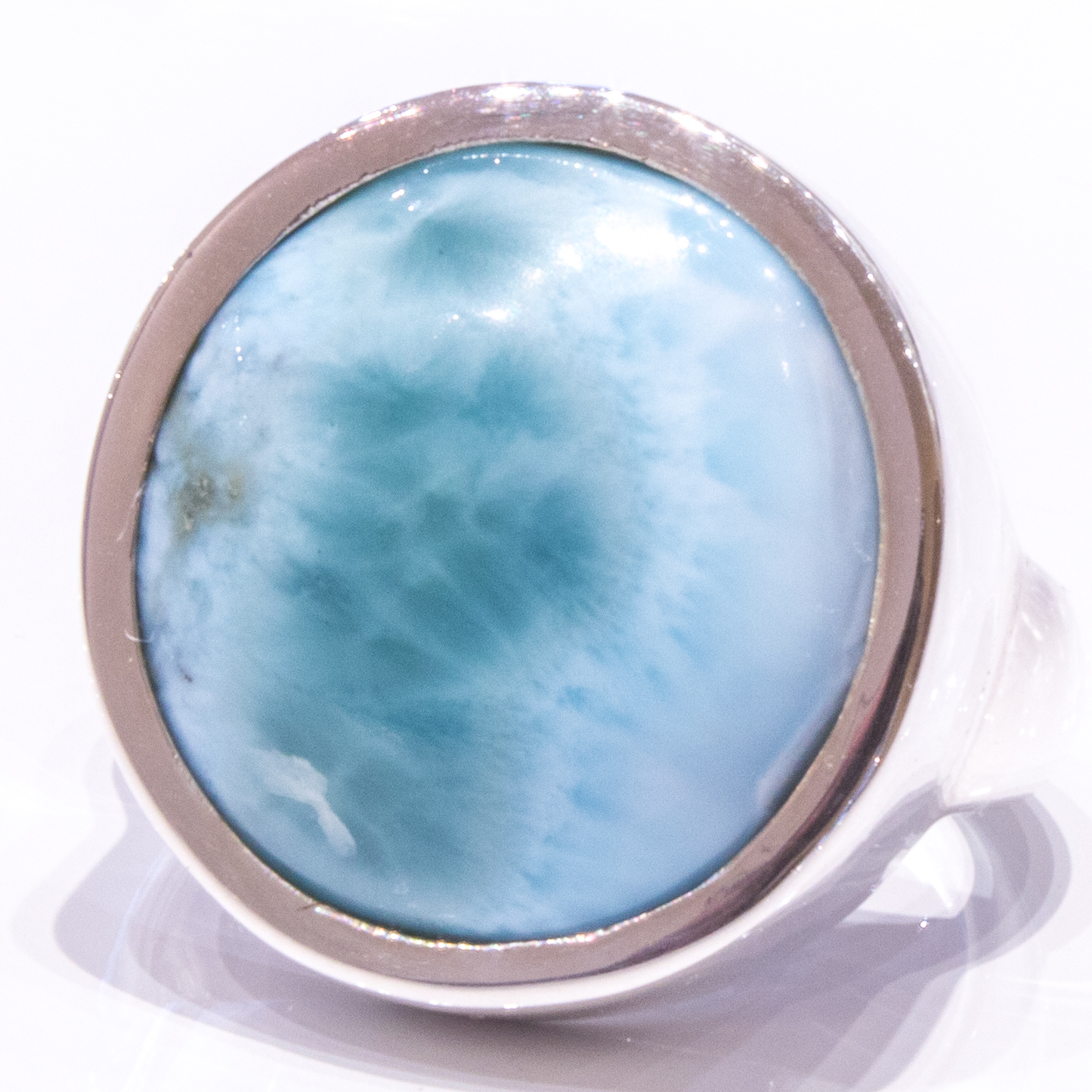 Handmade Sterling Silver Ring with Natural Larimar