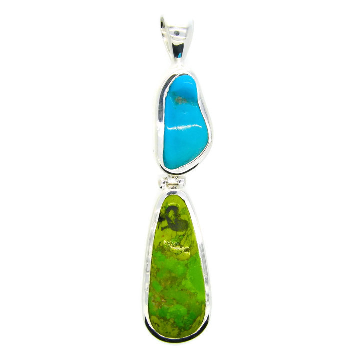 Blue and Green Turquoise Silver Pendant