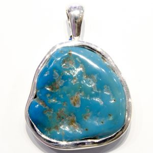 Handmade Sterling Silver Pendant with Arizona Turquoise