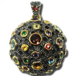 Black Rhodium and Gold Plated Silver with Natural Stones
