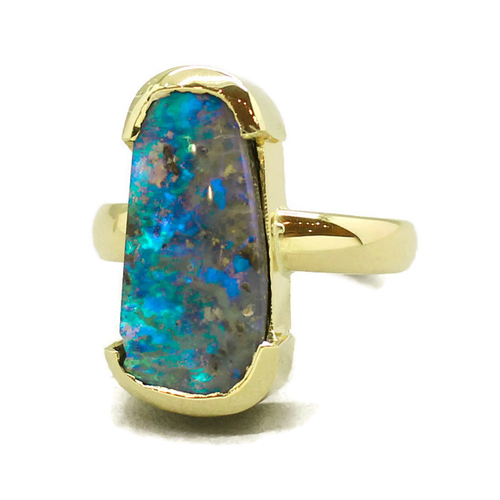 Aust Boulder Opal in 18 Ct Gold Ring