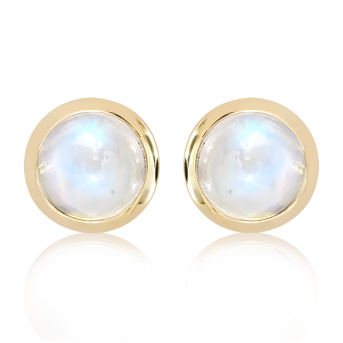 Blue Moonstone in Handmade Gold Studs