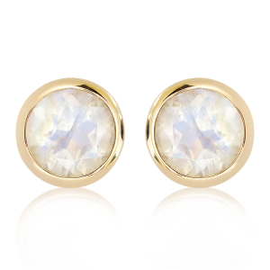 Blue Moonstone handmade Studs in Gold